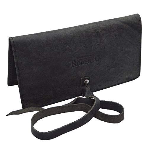 Tabaktasche braun aus echtem Leder mit Paper Fach Tabakbeutel Drehertasche (schwarz)