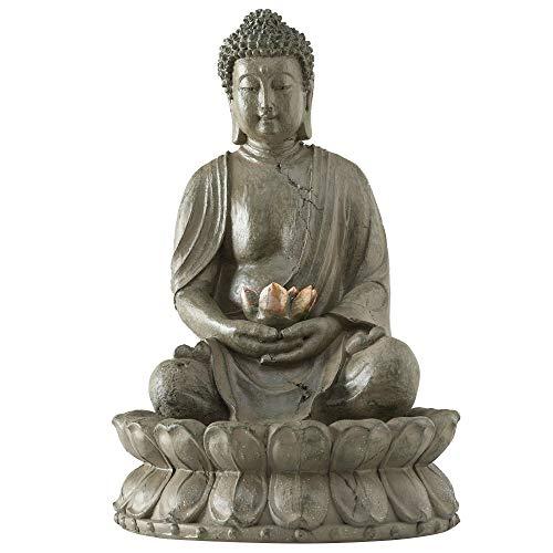 Boltze LED Tisch Spring Brunnen Gäste Zimmer Feng Shui Buddha Design Wasser Spiel Bronze 3488900