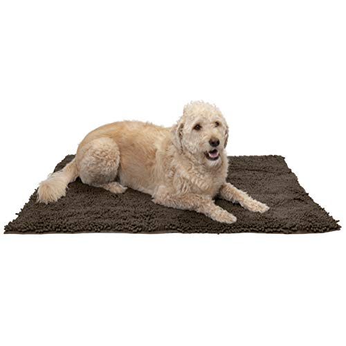 Furhaven Pet Dog Mat - Muddy Paws Absorbent Chenille Shammy Bath Towel and Food Mat Rug for Dogs and Cats, Mud (Brown), Extra Large