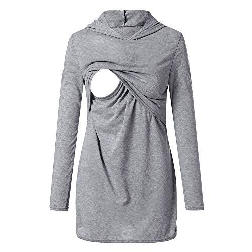 Covermason Vêtements de maternité Tops d'allaitement Haut d'allaitement Femmes T-Shirt de Grossesse Haut Maternité Allaitement Maternel Top Lace Up Double Couche Blouse