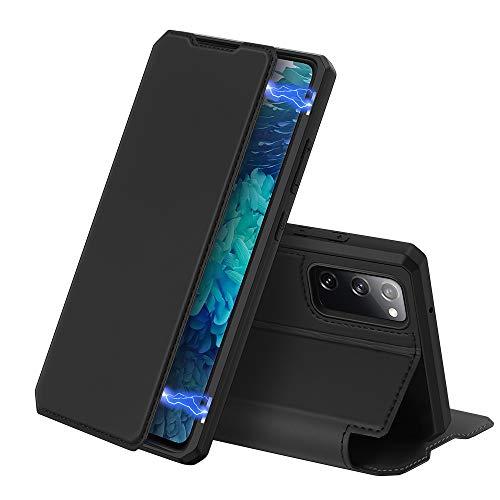 DUX DUCIS Hülle für Samsung Galaxy S20 FE, Premium Leder Magnetic Closure Flip Schutzhülle handyhülle für Samsung Galaxy S20 FE Tasche (Schwarz)