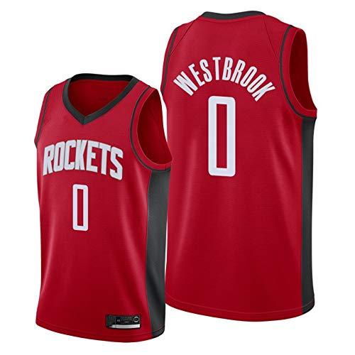 AMJUNM Basketball T-Shirt Houston Rockets 0# Westbrook Trikots, Herren Frau Basketball Uniform Klassisches Stickerei Jerseys Top