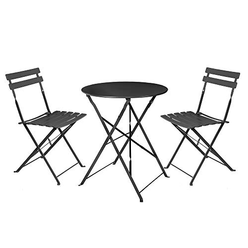 LOLAhome Conjunto de Mesa y 2 sillas para Exterior de Acero (Negro)