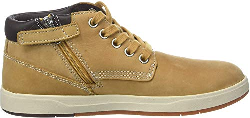 Timberland Davis Square Leather (Youth), Botas Chukka Unisex-Niños, Amarillo Wheat Nubuck, 32 EU