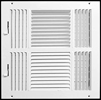 """14"""" X 14"""" 4-Way AIR Supply Grille - Vent Cover & Diffuser - Flat Stamped Face - White [Outer Dimensions: 15.75""""w X 15.75""""h]"""
