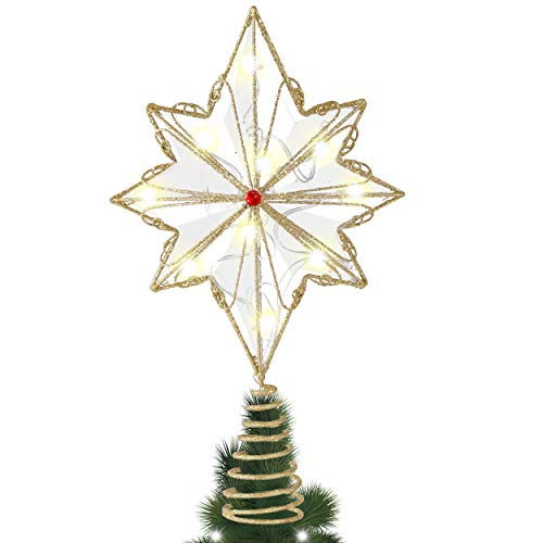 Valery Madelyn Christmas Tree Topper Decorations, 12.2Inch/31cm Pre-Lit Red and Gold Metal Star Tree Topper with 10 Warm LED Lights, Battery Operated (Not Included)