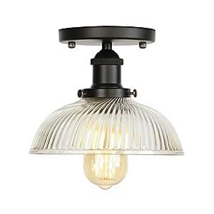 Ganeep Loft retro luz de techo - Decoración industrial lámpara de techo de granja Corredor - Techo de montaje de iluminación con raya Pot Tapa Pantalla de Vidrio - Edison techo de la vendimia Luces Ac