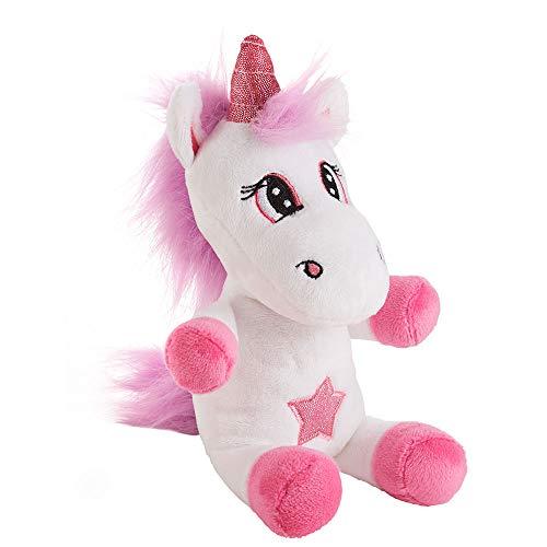 Einhorn weiß-lila 10x12x20cm Plüschtier Glitzer Stern Geschenk Kuscheltier Unicorn Pony Stofftier...