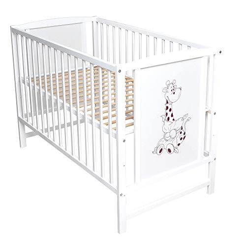 Rundum Kleinkindbett Babybett Gitterbett Kinderbett Motiv Giraffe 120x60cm weiß Neu