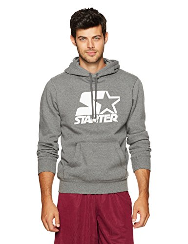 Starter Men's Pullover Logo Hoodie, Amazon Exclusive, Iron Grey Heather, Small