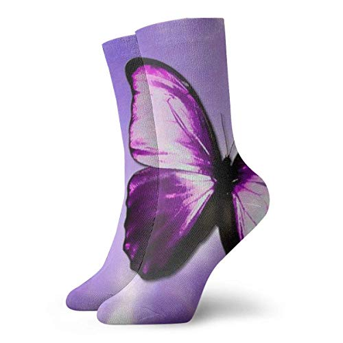 Hangdachang Purple Butterfly Art Unisex Transpirable Running Senderismo Calcetines Crew Calcetines 30 cm / 11,8 pulgadas