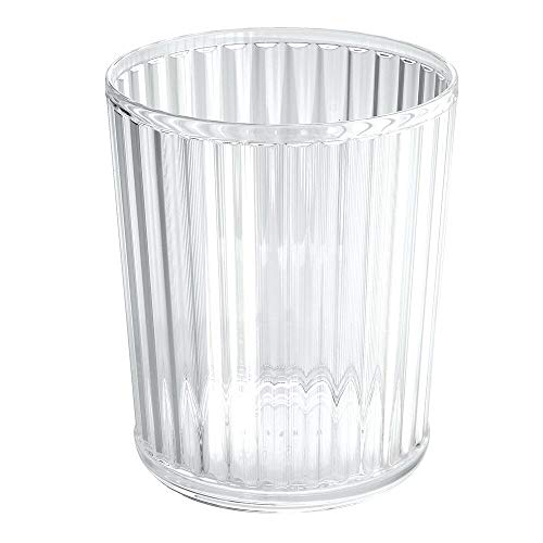 mDesign Afvalbak van acryl - perfect als afvalemmer in de keuken, prullenbak op kantoor of flexibele afvalemmer in de badkamer - transparant