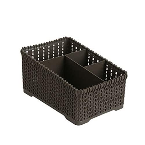 MRBJC Cesta de almacenamiento de plástico para almacenamiento de escritorio y organizador del hogar, caja de almacenamiento pequeña con asa para baño, maquillaje, armarios de 19,3 x 13 x 10,5 cm