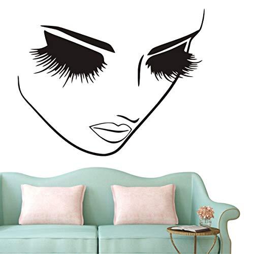 Fashion Removable Beauty Lashes Eyes Wall Decal Women Face Spa Salon Decor Sticker Home Decor Bedroom Art Vinyl Wall Sticker A-94 (Black)