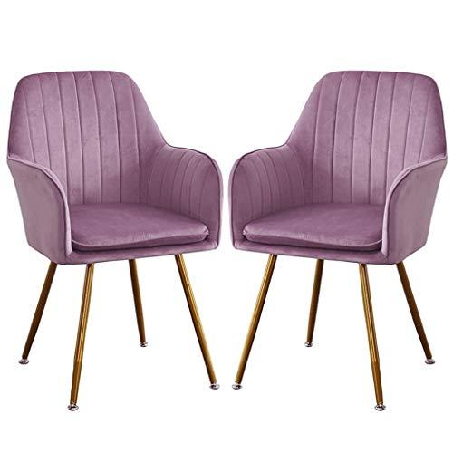 zyy Juego de 2 sillas de cocina retro, asiento y respaldo de terciopelo suave con patas de metal, sillones para comedor y sala de estar, silla de escritorio (color: púrpura)