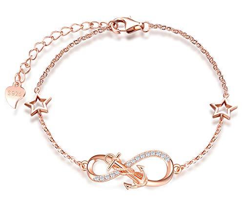 MicLee Damen Einfach Armband Zirkonia 925 Sterling Silber Allergenfrei Anker Unendlichkeit Zeichen Zwei Sternen Armreif Armkette mit Geschenkbeutel Super Geschenk für Mutter Freundin