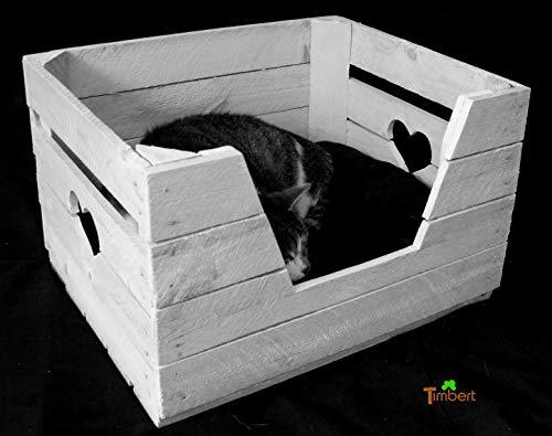 Vintage KATZENKORB + LIEGEKISSEN aus Holz für Katze/Hund Katzenkörbchen Tierbett aus einer alten Holzkiste OBSTKISTE Shabby weiß Geschenk