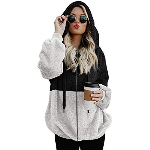 Hoodie Damen ragwear Jacke Sweatjacke Klamotten Clothes Sommerjacke Damen Kapuzenpullover Mantel Frauen Winter Warme Wolle Reißverschluss Taschen Baumwolle Outwear (M,2Schwarz)