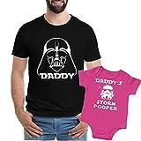 Texas Tees Daddys Storm Pooper Dad Daughter Shirts, Star Wars Inspired ,Darth & Storm Pooper - Black & Pink,Mens (Large) & 0-3 Month