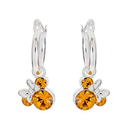 Disney Minnie Mouse Silver Plate Brass Crystal November Birthstone Hoop Earrings