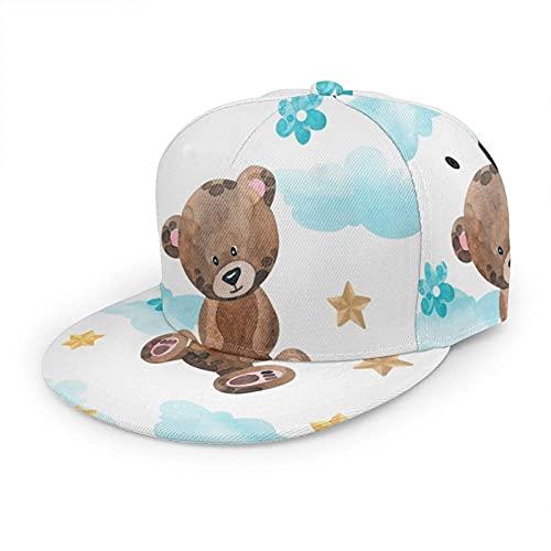 Gorra de béisbol para mujer, hombre, diseño de oso marrón, nubes, estrellas, hora de cama, azul dorado, hip hop, Snapback, sombrero de béisbol de ala plana