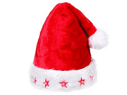 Alsino Weihnachtsmützen mit Licht LED Nikolausmützen blinkend, Modell wählen:wm-13 plüsch rot LED