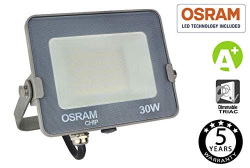 FactorLED Spot 30W SMD Advance met OSRAM chip voor buiten, 3000 lm hoge efficiëntie, IP65 buitenverlichting, triac dimbaar, [energie-efficiëntieklasse A+]