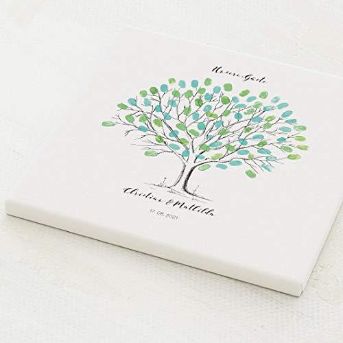 sendmoments Fingerabdruck Leinwand, Hochzeitsbaum, quadratisch 30x30 cm, personalisiert mit Text, kreative Verewigung der Hochzeitsgäste, originelles Gästebuch, optional mit Stempelkissen