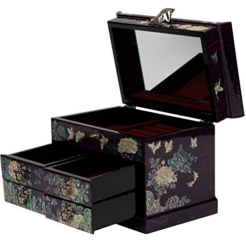 February Mountain Mother of Pearl Wooden Jewelry Organizer Box – Jewelry Storage Box for Women, Features Spacious Drawers, Ideal for Rings, Bracelets, Watches, Chains, Accessories (Purple)