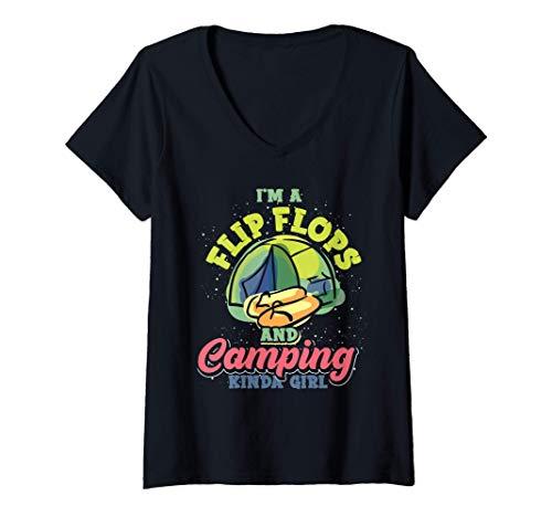 Damen Outdoor Camper Natur Lustiges Flip Flops Camping Mädchen T-Shirt mit V-Ausschnitt