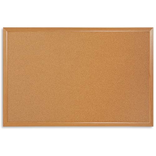Blue Summit Supplies 24 Inch x 36 Inch Corkboard with Natural Wood Frame, Bulletin Board with Included Push Pins for Office, Classroom, or Home, Mounting Hardware Included