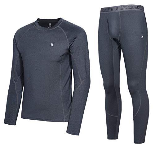 Little Donkey Andy Conjunto de ropa interior térmica para hombre con capa base de rendimiento que absorbe los pantalones largos activos y parte superior con mosca, M, a. Negro