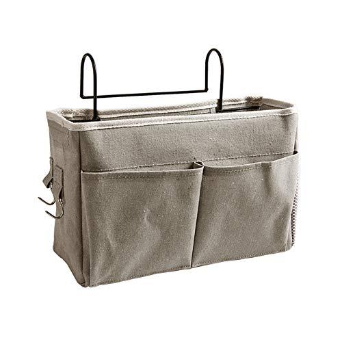 Gwotfy Bedside Caddy Pocket, Bedside Pocket Hanging Storage Organizer, Bed Storage Bag Große Kapazität zum Sortieren von Zeitschriften, Telefon, Kopfhörer, Remote Pen (Tiefgrau)