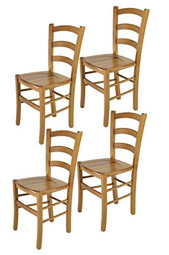 Tommychairs - 4er Set Stühle Venice für Küche und Esszimmer, Robuste Struktur aus lackiertem Buchenholz im Farbton Eichenholz und Sitzfläche aus Holz