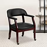 BizChair Black Vinyl Luxurious Conference Chair with Casters