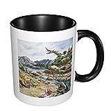 Taza de café de cerámica brillante de la pintura del dinosaurio, taza de té para la oficina y el hogar convenientes para la microonda