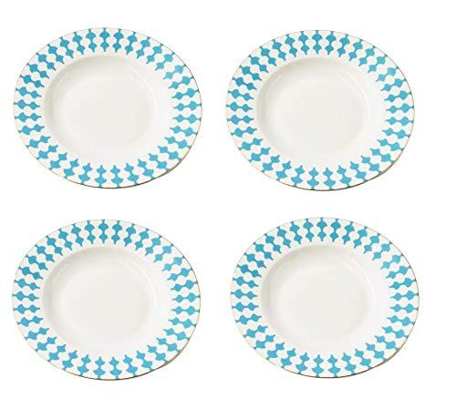 LA VITA VIVA Blue Dream - Juego de platos hondos (4 unidades, 20,5 cm de diámetro, porcelana), color blanco y azul