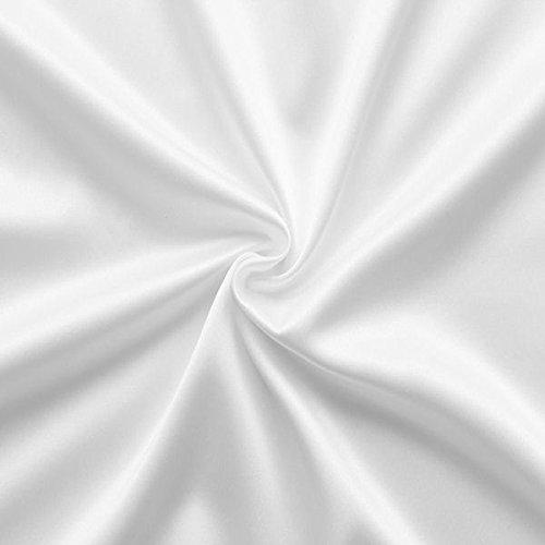 STOFFKONTOR Stretch Satin Modestoff Kleiderstoff - Stoff glänzend - Meterware, Weiss