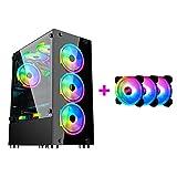 YINxy Mid-Tower Caja de PC Gaming, 120 mm Ventiladores Incluidos, Panel Cristal Templado, USB 2.0-3.0-Audio hub ATX mATX ITX Frontal Vidrio