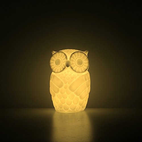 Mojocraft Serenity the Owl Battery/USB Powered Decorative Claylike Night Light with Timer, Warm White