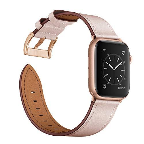 Arktis Lederarmband kompatibel mit Apple Watch (Series 1, Series 2, Series 3 mit 38 mm) (Series 4, Series 5 mit 40 mm) Wechselarmband [Echtleder] inkl. Adapter - Sandrosa