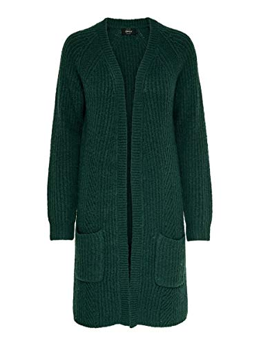 ONLY Damen Onlbernice L/S Cardigan KNT Noos Strickjacke, Grün (Green Gables Detail: Black Melange), Large