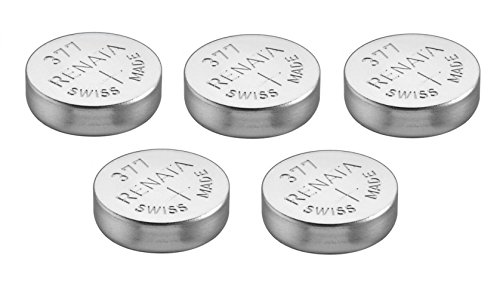 5 x Renata Uhrenbatterien Silber Oxid Hergestellt In Der Schweiz 0% Quecksilber Lange Lebensdauer - Argenté, 5 x 377 ou SR626SW AG4