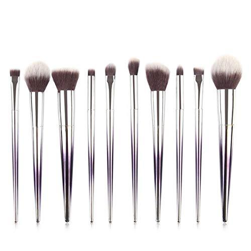 10 pcs pinceaux de Maquillage Ensemble Maquillage Contour Blush Foundation Poudre Poudre Fard à paupières Pinceau changeant progressivement poignée de Brosse de Couleur-Violet Blanc_États Unis