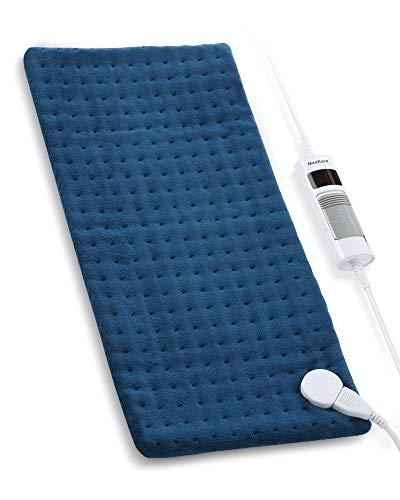 Heizkissen mit Wärmekissen für Rücken Nacken Schulter 30x60cm undTemperatureinstellungin6 Überhitzungsschutz, Abschaltautomatik, Weicher Plüsch Waschbar Blau