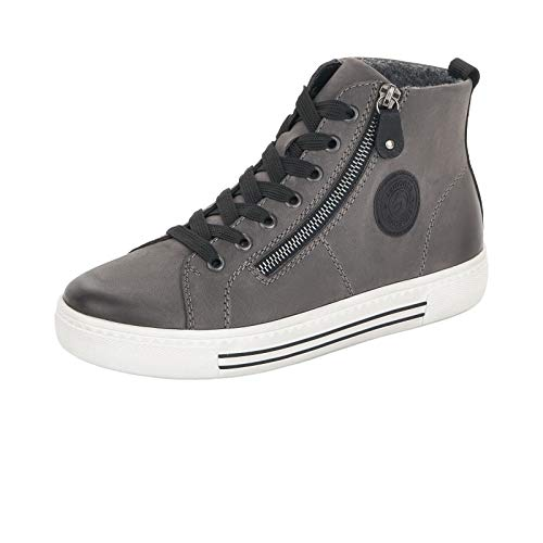 Remonte Damen Sneaker, Frauen High-Top Sneaker, Sneaker-Stiefel mid Cut weiblich Lady Ladies feminin Freizeit leger,Grau(Granit),39 EU / 6 UK