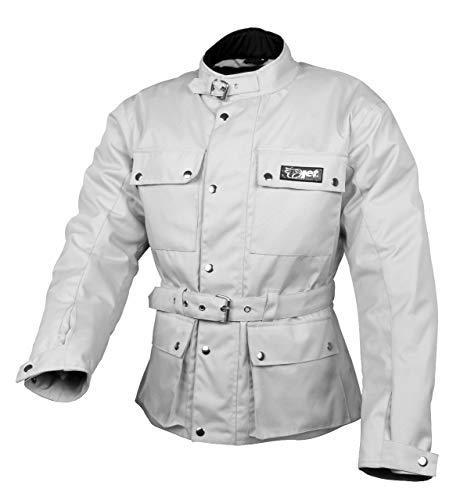 JET Chaqueta Moto Hombre Impermeable Textil con Armadura Vintage Retro Clásico (XL (EU 52-54), Plata)