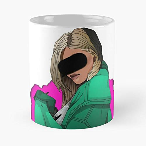 cutedog Kourtney Jenner Tyga Khloe Kris Kim Kylie Best Mug Tiene 11oz de Mano Hechas de cerámica de mármol Blanco