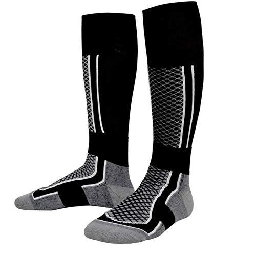 Paquete de 2 calcetines de esquí de invierno para hombre y mujer, calcetines deportivos gruesos, transpirables para esquí al aire libre, Gris+negro, para hombre, Talla única