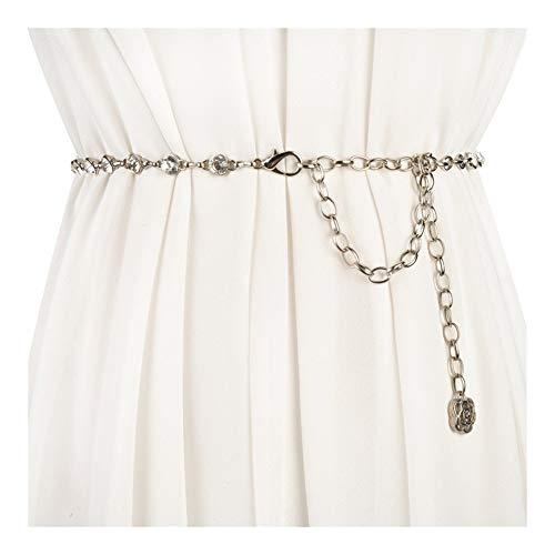 Yiph-Belt Gürtel Freizeit Taille Kettenband Mode Kleid Metallic Bauchkette (Color : Silver)